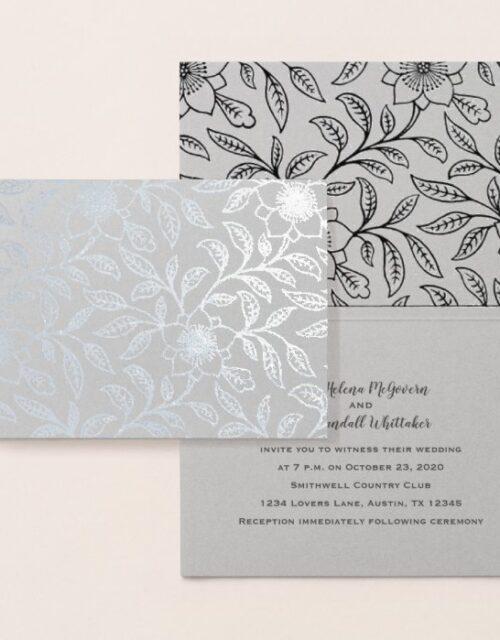 Deluxe Foil Silver Floral Wedding Invitation