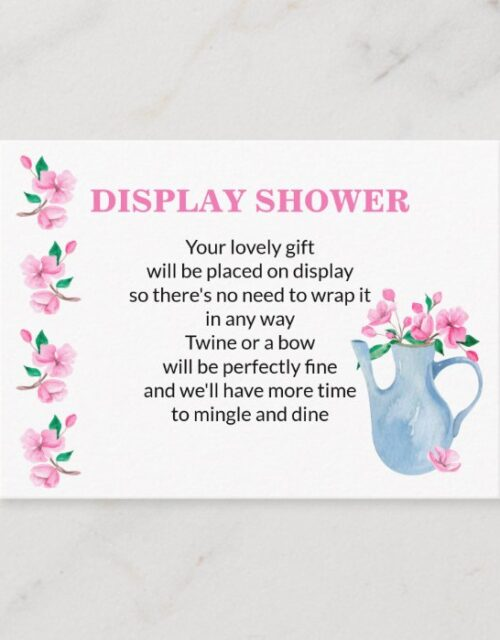 Display Shower Pink Gingham and Cherry Blossom Enclosure Card