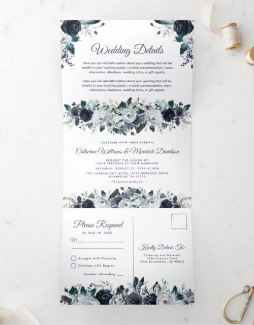 Dusty Blue Floral 3 in 1 Wedding Tri-Fold Invitation