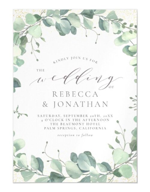 Dusty Green Eucalyptus Watercolor Wedding Magnetic Invitation