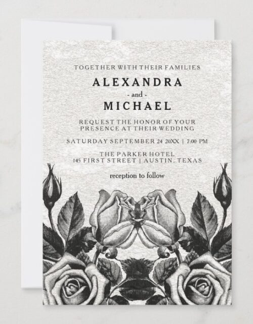 Edgy Victorian Roses Black and White Wedding Invitation