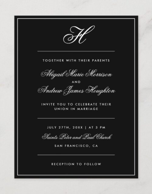 Elegant Black And White Monogram Script Wedding Invitation Postcard