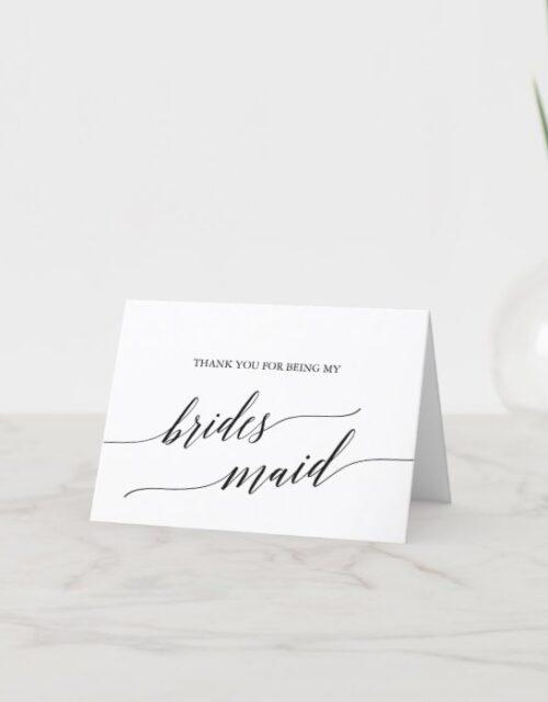 Elegant Black Calligraphy Bridesmaid Thank You Card