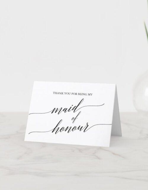 Elegant Black Calligraphy Maid of Honour Thank You Card