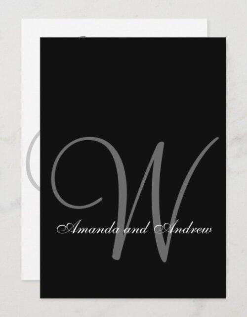 Elegant Black Gray White Monogram Wedding Invitation