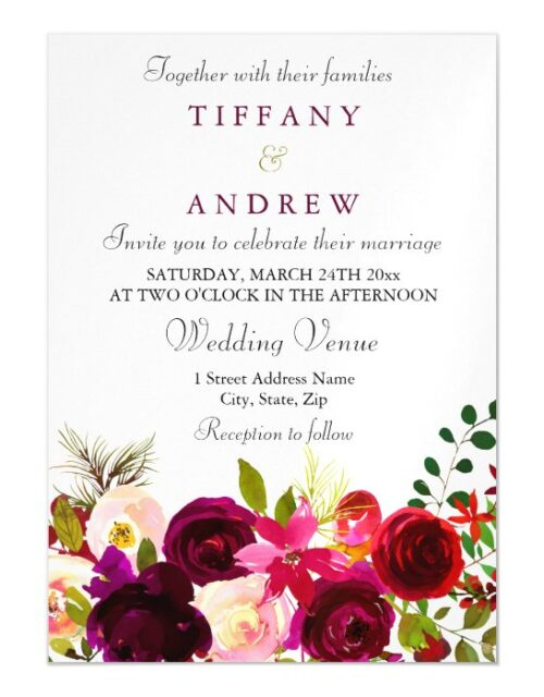Elegant Burgundy Floral Magnetic Wedding Invite
