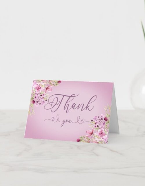 Elegant Calligraphy and Purple Flowers Thank You Card