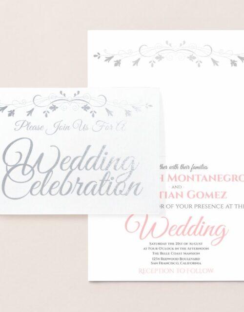 Elegant Chic Silver & Pink Foil Wedding Invitation