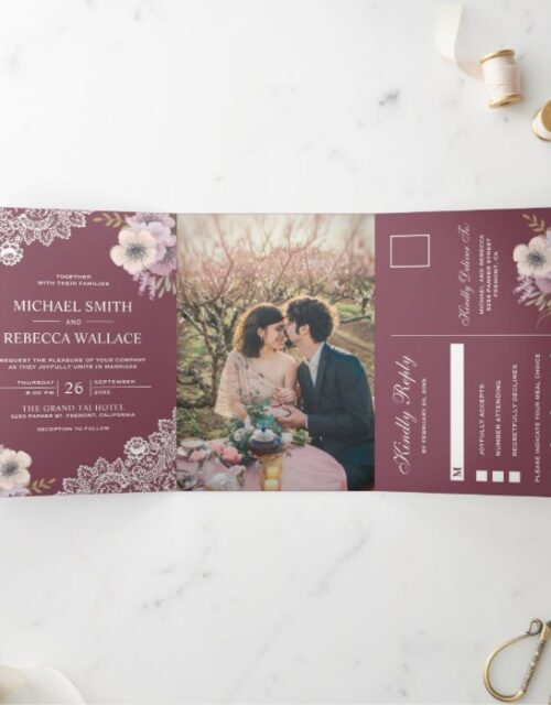Elegant Dusty Pink Floral Lace Wedding Photo Tri-Fold Invitation