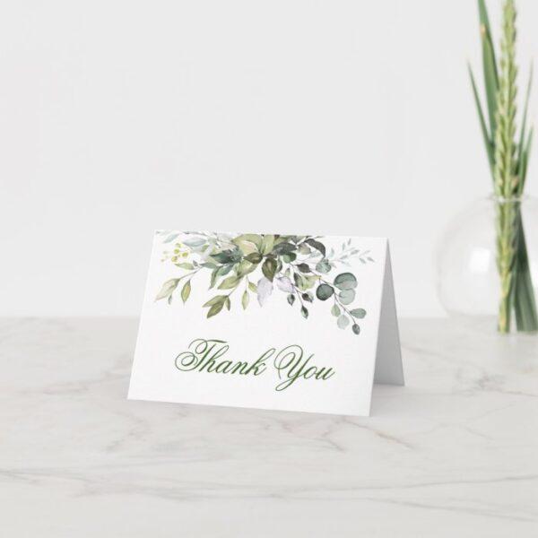Elegant Eucalyptus Greenery Watercolor Thank You Card