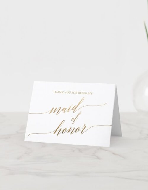 Elegant Gold Calligraphy Maid of Honor Thank You Card