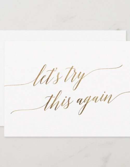 Elegant Gold Calligraphy Wedding Change the Date Invitation