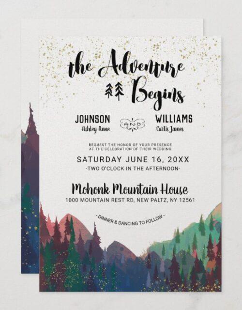 Elegant Gold Mountain Wedding Invitation