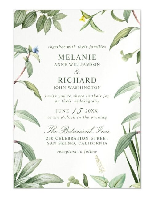 Elegant Green & White Botanical Leaves Wedding Magnetic Invitation