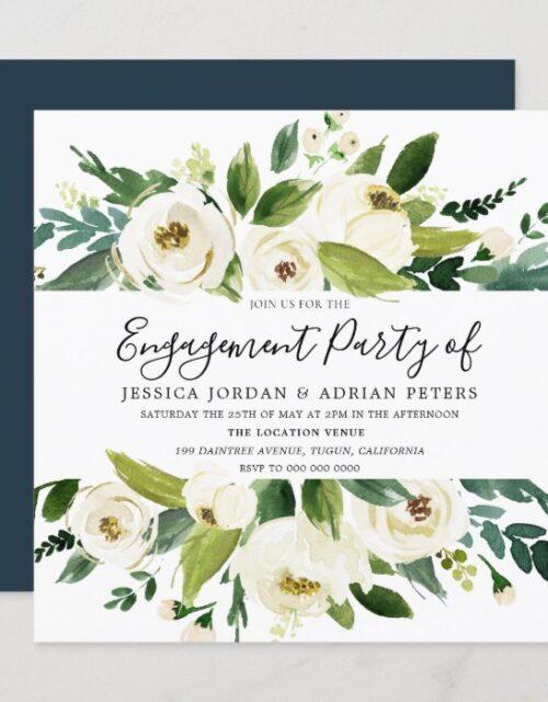Elegant Greenery White Floral Engagement Party Invitation