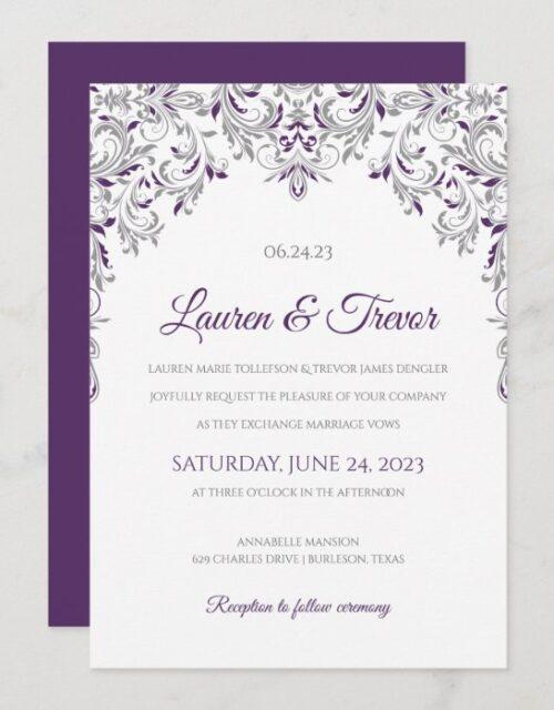 Elegant Invitation | Kate (Plum & Gray)