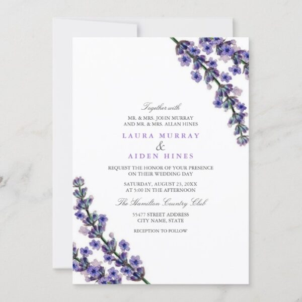 Elegant Lavender Wedding Invitation