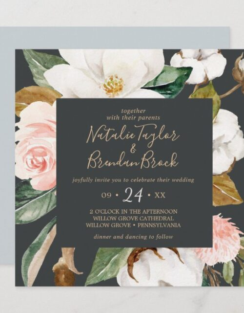 Elegant Magnolia | Black and White Square Wedding Invitation