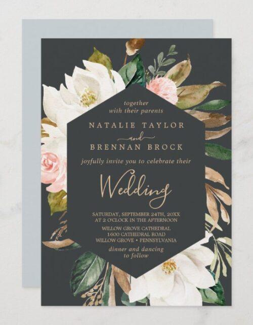 Elegant Magnolia | Black and White Wedding Invitation