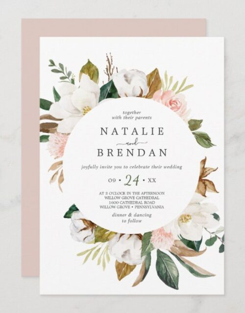 Elegant Magnolia | White and Blush Casual Wedding Invitation