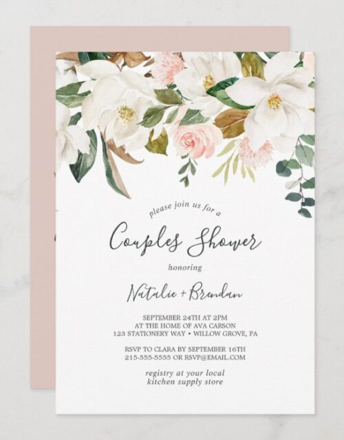 Elegant Magnolia | White and Blush Couples Shower Invitation