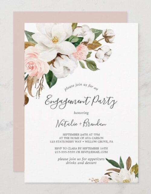 Elegant Magnolia White and Blush Engagement Party Invitation