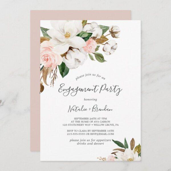 Elegant Magnolia White and Blush Engagement Party Invitation