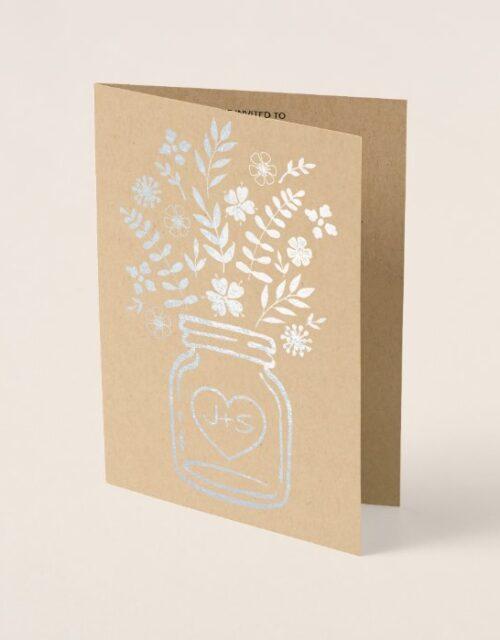 Elegant Mason Jar Foil Wedding Invitation