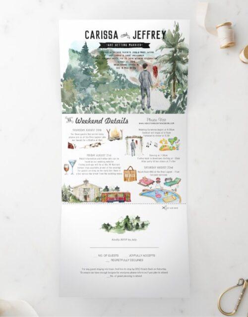 Elegant Mountain Wedding   Tri-Fold Invitation