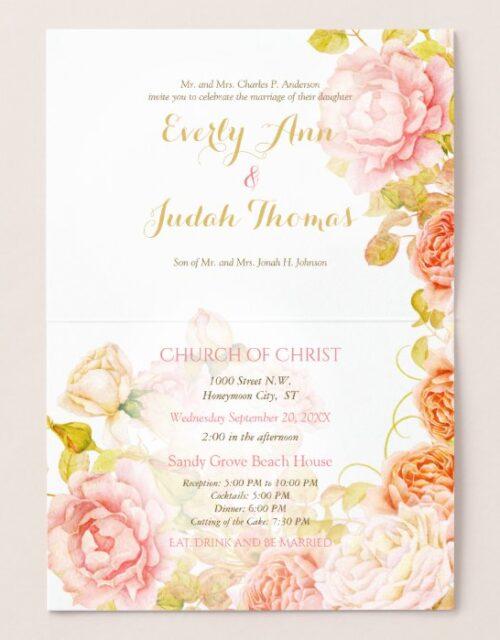 Elegant Pink, Coral and Gold Foil Rose Wedding Foil Card
