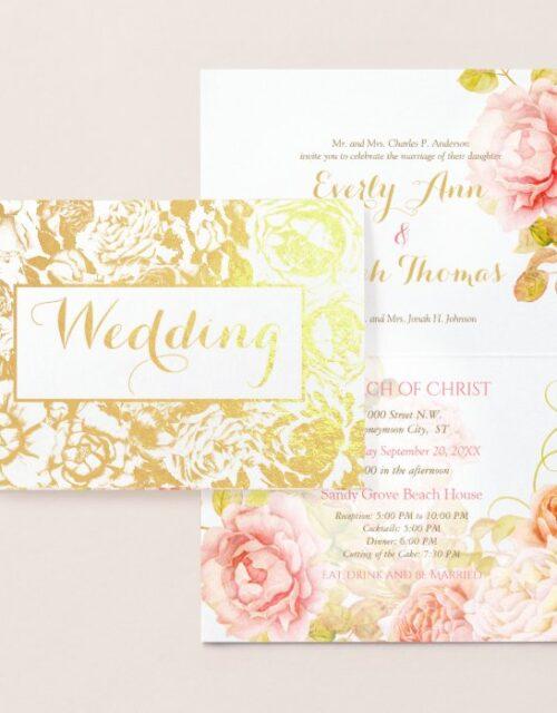 Elegant Pink, Coral Gold Foil Rose Wedding Foil Card