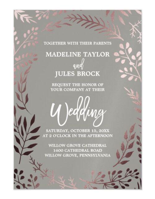 Elegant Rose Gold and Gray   Leafy Frame Wedding Magnetic Invitation