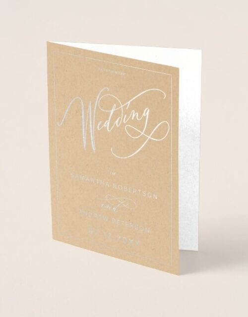 Elegant silver foil minimalist calligraphy wedding foil card