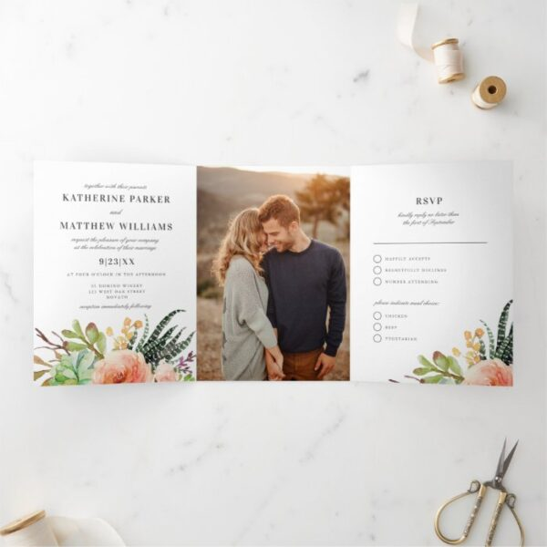 Elegant Succulent Rose All-In-One Wedding Photo Tri-Fold Invitation