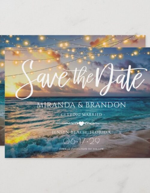 Elegant Summer Sunset Beach String Lights, Wedding Save The Date