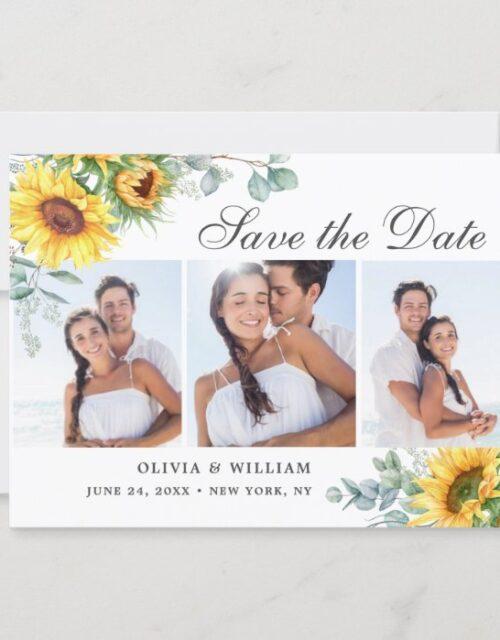 Elegant Sunflowers Eucalyptus 3 PHOTO Wedding Save The Date
