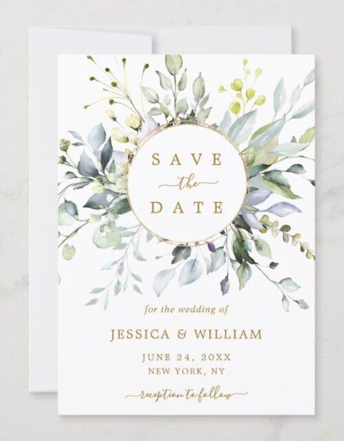 Elegant Watercolor Eucalyptus Greenery Wedding Save The Date