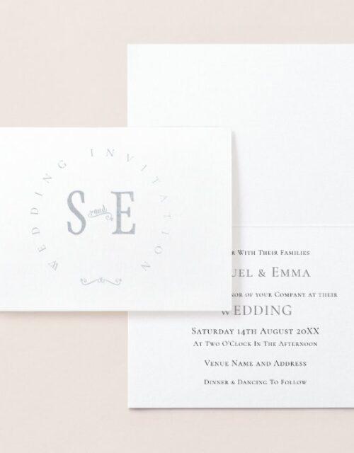 Elegant Wedding Invitation Typography Silver