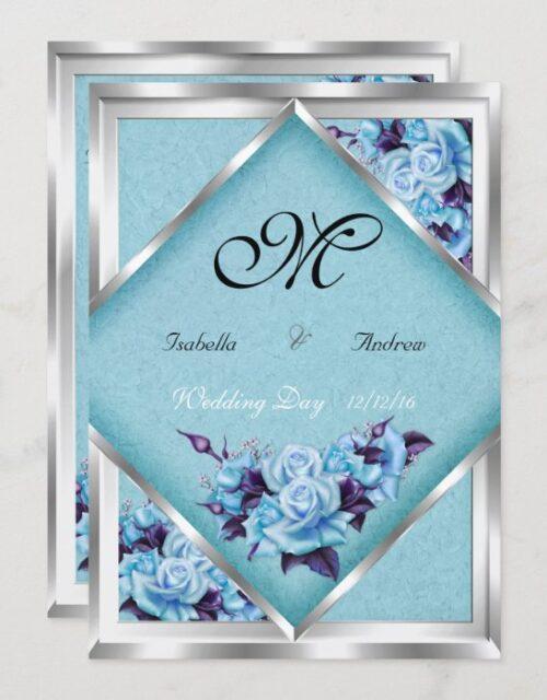 Elegant Wedding Teal Purple Roses Silver Bouquet 2 Invitation