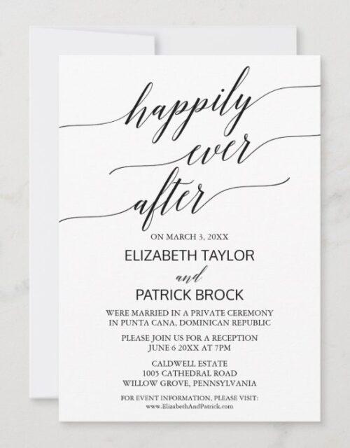 Elegant White and Black Calligraphy Elopement Invitation
