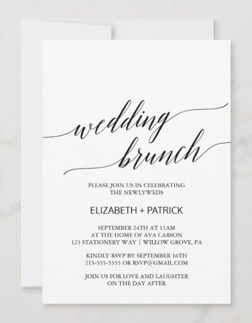 Elegant White and Black Calligraphy Wedding Brunch Invitation