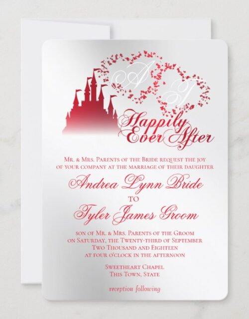 Enchanted Silver Red Story Book Wedding Invitation