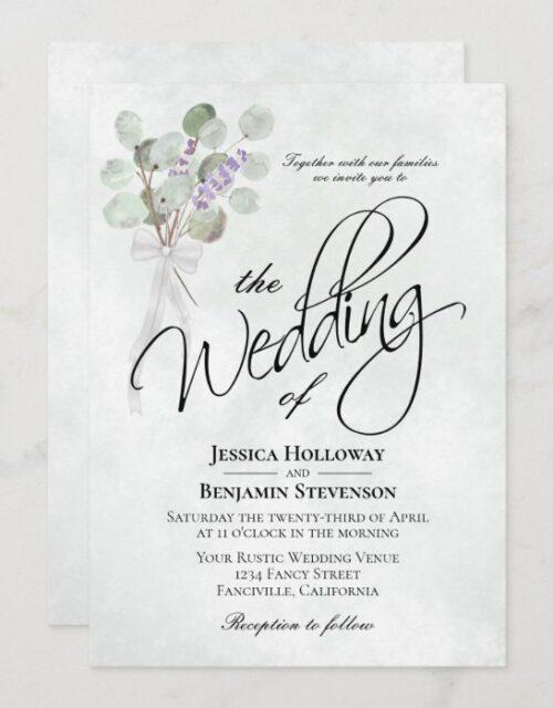 Eucalyptus & Lavender Bouquet Rustic Boho Wedding Invitation
