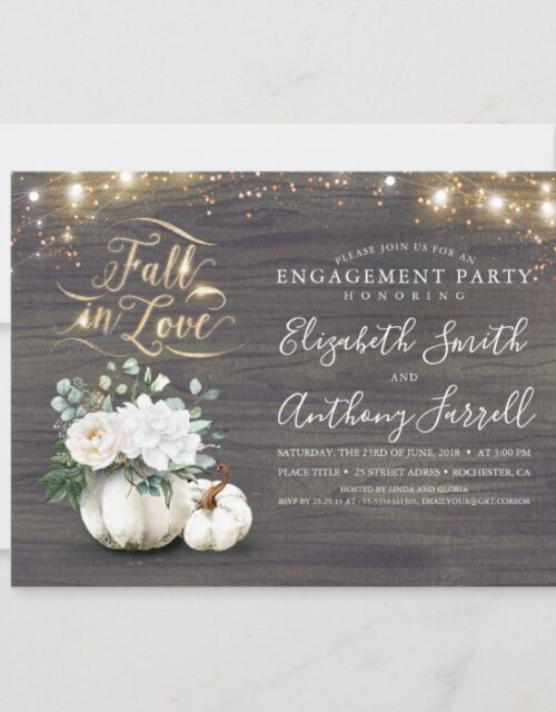 Fall in Love White Pumpkin Rustic Engagement Party Invitation