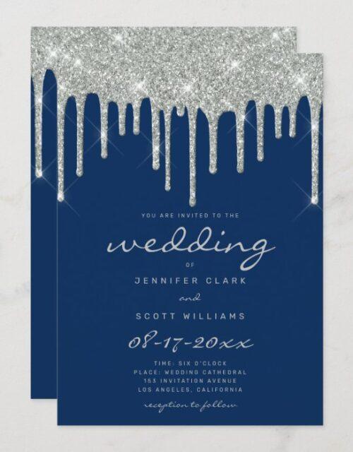 Faux silver glitter drips script navy blue wedding invitation