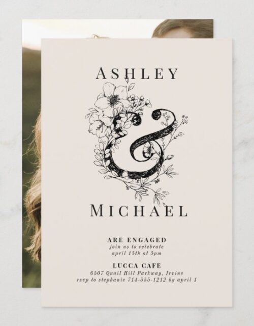 FLORAL AMPERSAND Blush Photo Engagement Party Invitation