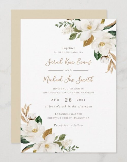 Floral Elegant Magnolia Beige Neutral Wedding Invitation