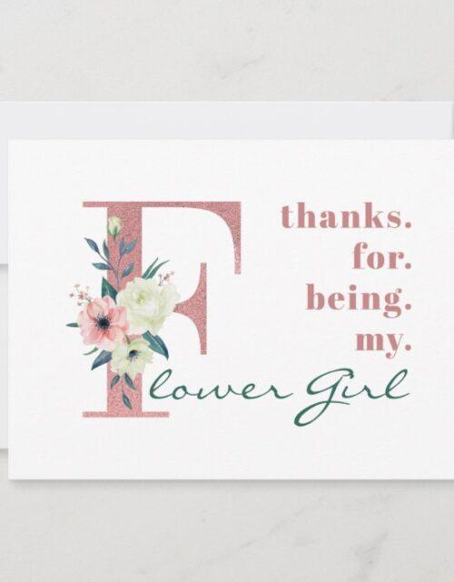 Flower Girl Pink Floral Letter Wedding Thank You Card