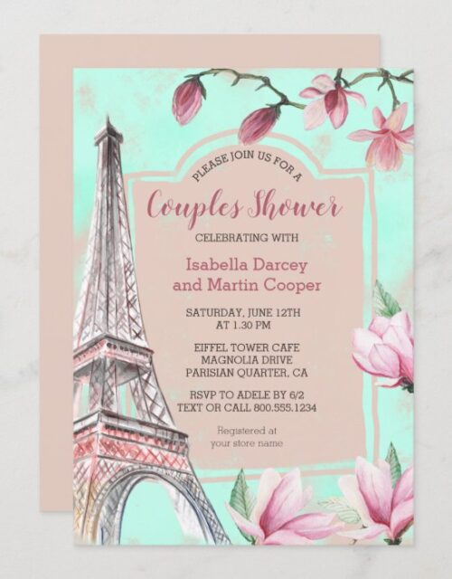 French Romance Magnolia Flowers Couples Shower Invitation