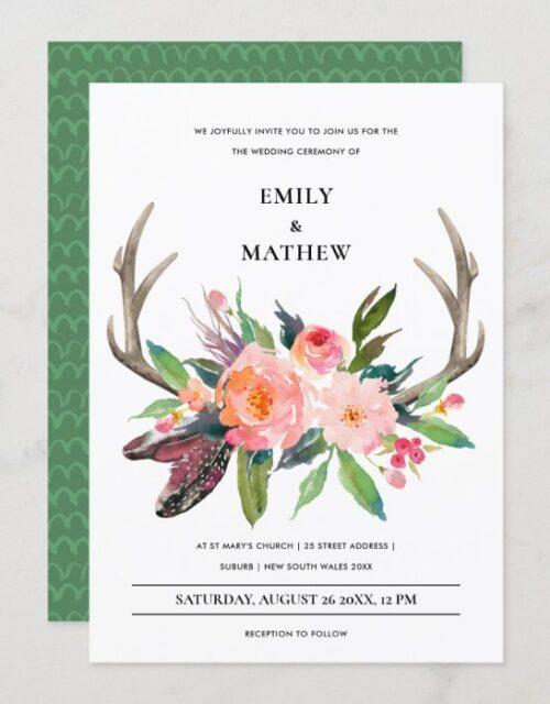 FUN BOHO WHITE BLUSH ANTLER FLORAL COUNTRY WEDDING INVITATION